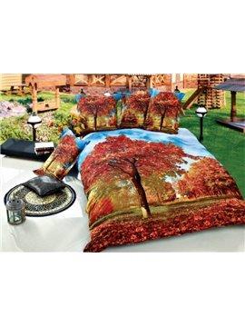 Flourishing Red Maple Tree Print 4-Piece Cotton Duvet Cover Sets