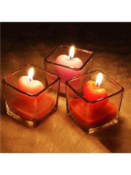 Fantastic One Piece Square Glass and Heart Candles Sets