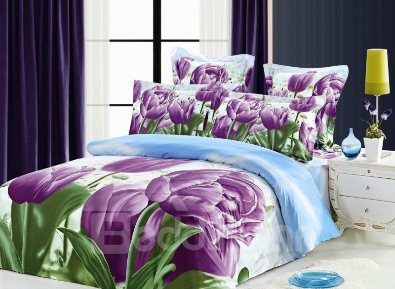 Purple Tulip Print 4-Piece Cotton Duvet Cover Sets