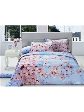 Boundless Huge Peach Blossom Print 4-Piece Cotton Duvet Cover Sets