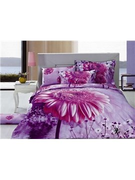 Wonderful Blooming Flower Print 4-Piece Cotton Duvet Cover Sets
