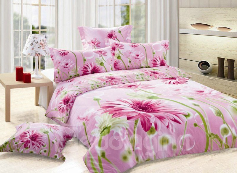 Delicate Pink Blooming Flower Print 4-Piece Cotton Duvet Cover Sets