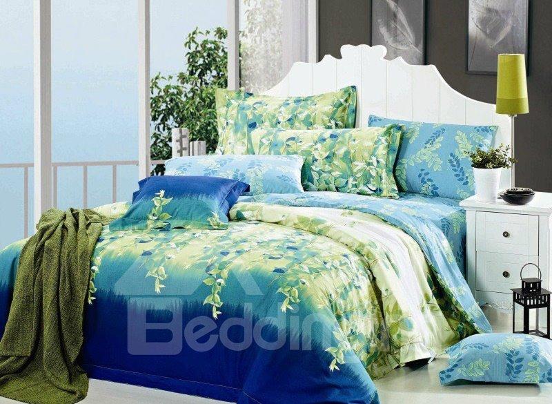 Green Twigs Print 4-Piece Cotton Duvet Cover Sets