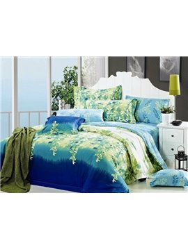 Green Twigs Print 4-Piece Cotton Duvet Cover Sets