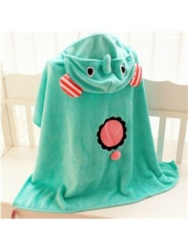 Super Cute Green Elephant Shape Baby Pashmina Animal Print Blanket