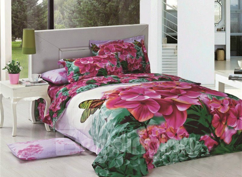 Stunning Butterfly and  Flower Print 4-Piece Cotton Duvet Cover Sets