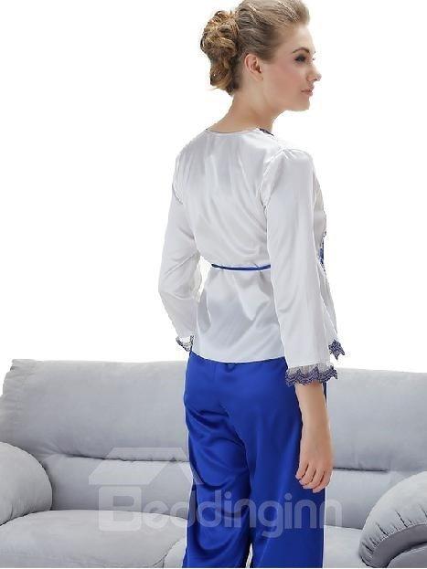 New Arrival Graceful Flower Embroidery Pattern Loungewear