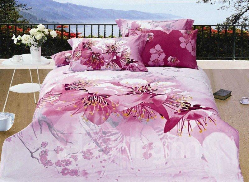 Sweet Peach Blossom Print 4-Piece Cotton Duvet Cover Sets