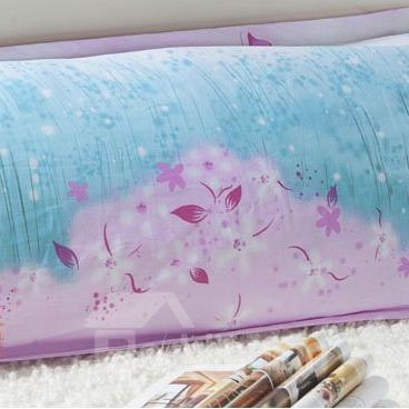 Romantic Green Grass and Pink Flowers Pattern Bed Pillowcase for A Couple