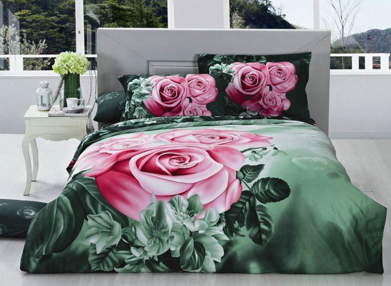 Fabulous Pink Rose and Green Leaves Print 4-Piece Cotton Duvet Cover Sets