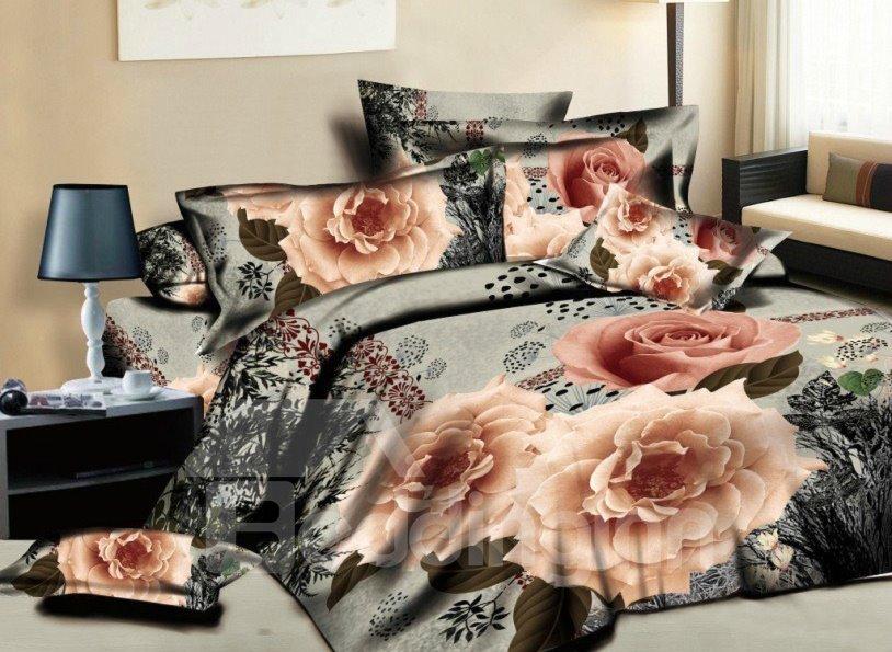 Noble Flower with Black Background Print 4-Piece Cotton Duvet Cover Sets