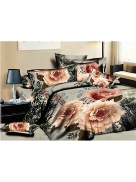Noble Flower with Black Background Print 4-Piece Cotton Duvet Cover Sets