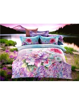 Exquisite Purple Flower Print 4-Piece Cotton Duvet Cover Sets