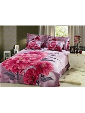 Elegant Red Peony Print 4-Piece Cotton Duvet Cover Sets