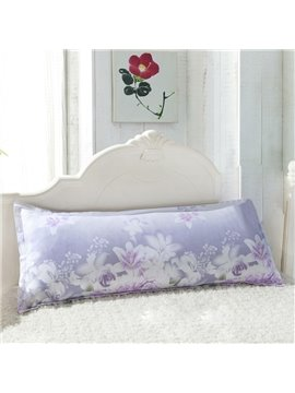 Fancy Light Purple Lily Pattern Bed Pillowcase for a Couple