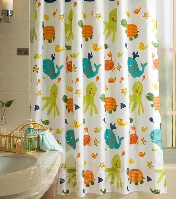 Lovely Cartoon Fishes Tortoise Printing Shower Curtain
