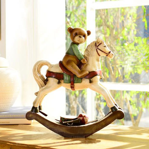 Funny High Quality Hand Painted Bear Rocking Horse