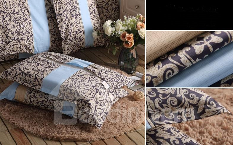 Super Soft Light Coffee Flower Pattern Bed Pillowcase