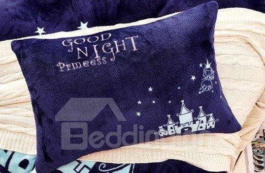 Dark Blue Angel and Castle Print 4-Piece Coral Fleece Duvet Cover Sets
