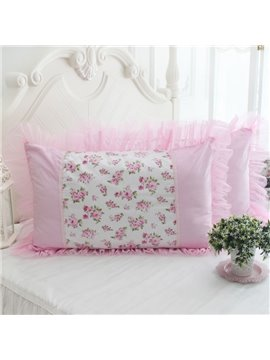 Gorgeous Pink Flowers and Border Bed Pillowcase