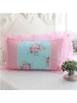 Fresh Pink Flower Checks and Border Bed Pillowcase