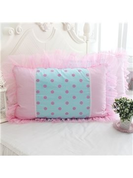 Warm Pink Dots Fold Border Bed Pillowcase