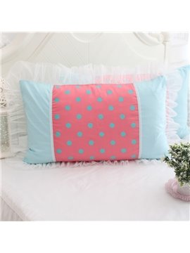 Fancy White Fold Border Little Dots Bed Pillowcase