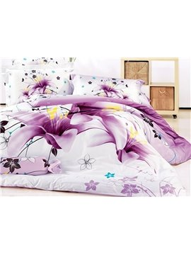 Stunning Purple Lily Print 4-Piece Cotton Duvet Cover Sets