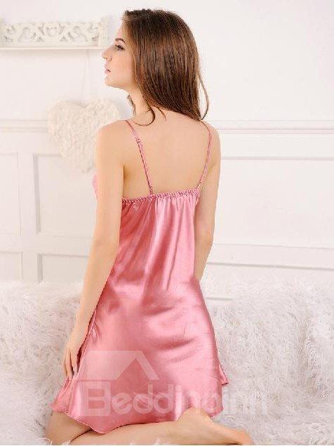 Pretty Graceful Pink Bowknot Design Female Loungewear