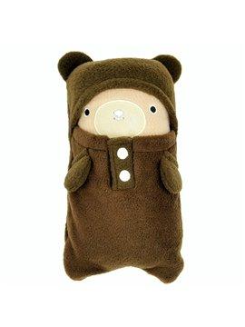 Cute Army Green Bear Shape Animal Print Baby Blanket