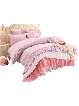 Lovely Three Color Lace Edging 4-Piece Cotton Cinderella Duvet Cover Sets