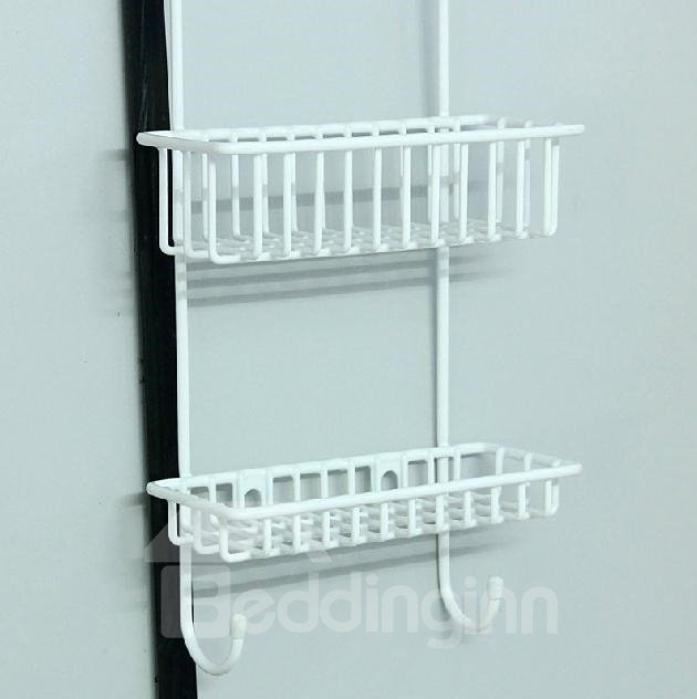 Concise Multifunctional White Hanger Design Bathroom Shelf