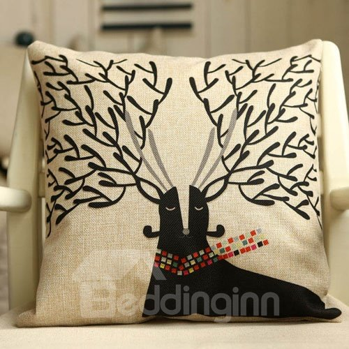Super Cute Christmas Gift Deer Pattern Throw Pillow