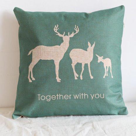 Christmas Gift Three white Reindeer Pattern Throw Pillow