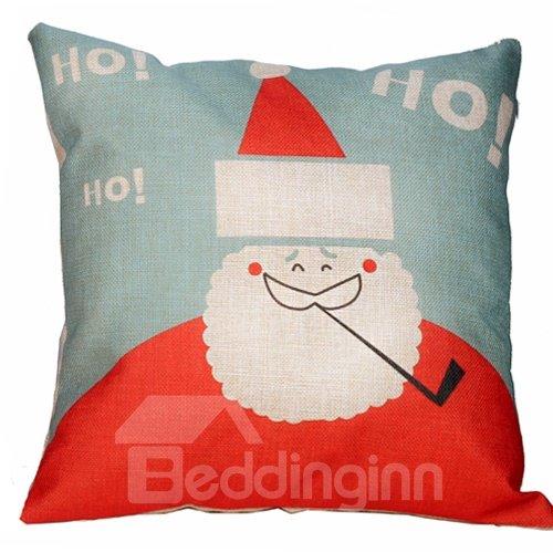 Christmas Gift Santa Claus Smoking Pattern Thicken Throw Pillow
