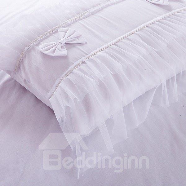 High Quality Pure White 100% Cotton 4-Piece Lace Duvet Cover Sets