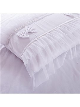 High Quality Pure White 100% Cotton 4-Piece Lace Duvet Cover Sets