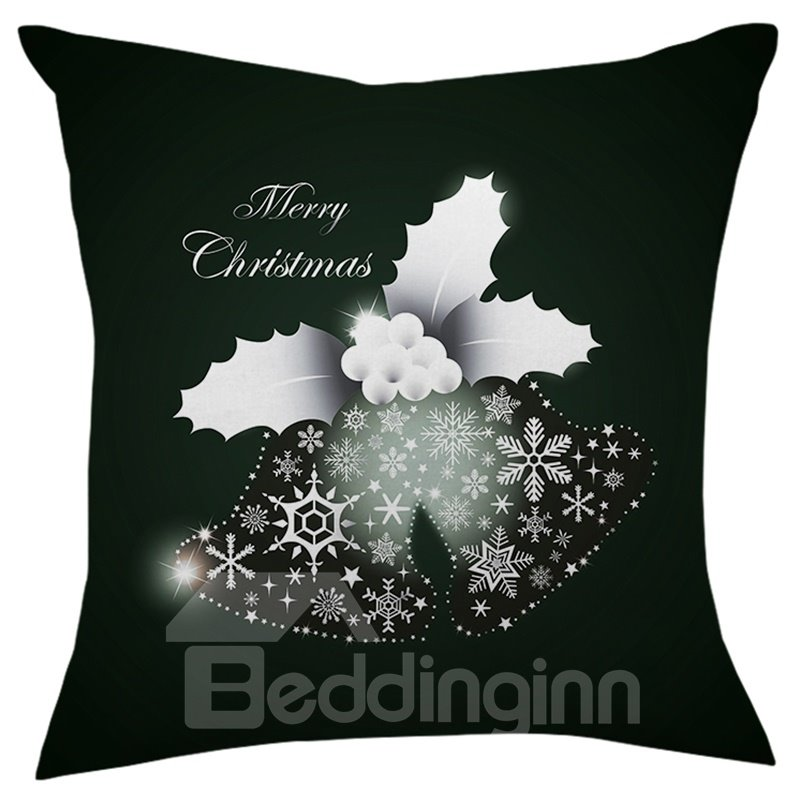 Merry Christmas Black Shining Grapes Snowflake Throw Pillow