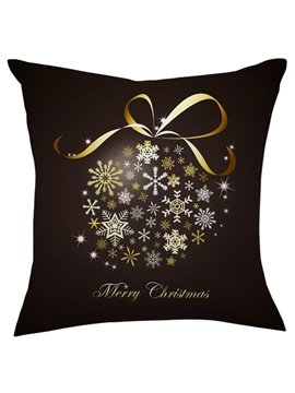 Christmas Gift Golden Bowknot White Snowflake Throw Pillow