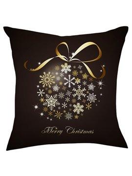 Christmas Gift Golden Bowknot White Snowflake Throw Pillow