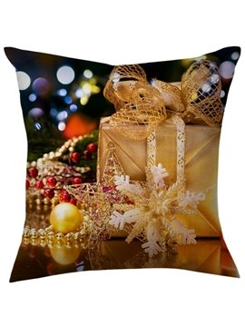 Creative Christmas Gift Snowflake and Present Throw Pillow