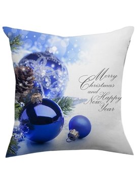Gorgeous Christmas Gift Shining Blue Balls Throw Pillow