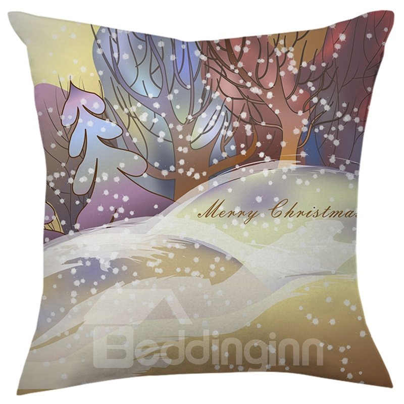 Merry Christmas Trees and Snowflake Throw Pillow