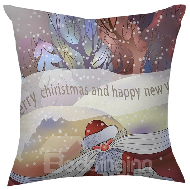 Christmas Gift Trees and Santa Claus Throw Pillow