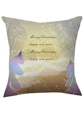 Fancy Christmas Gift Snowflake Flying over Trees Throw Pillow