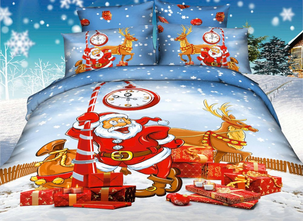Father Christmas Coming Print 4 Piece Christmas Gift Duvet