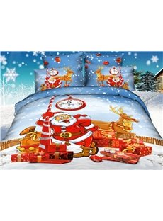 Father Christmas Coming Print  4-Piece Christmas Gift Duvet Cover Sets