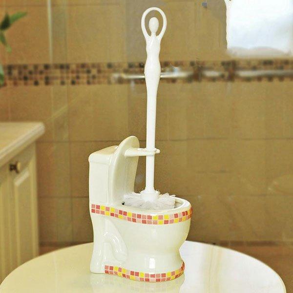Creative Adorable Mosaic Pattern Ceramic Toilet Brush Holder