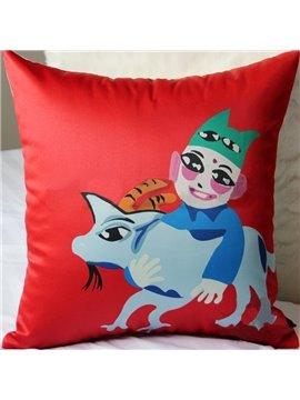 Creative Folk Style Joyous Young Man Holding Animals Pattern Throw Pillow