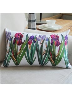 Beautiful Green Plant Purple Flowers Bed Pillow